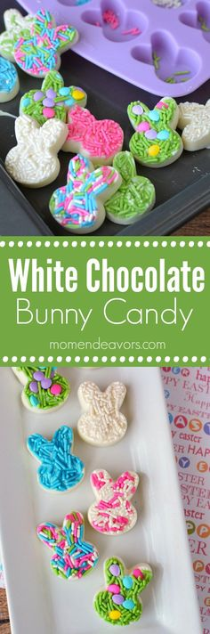 Easy Homemade White Chocolate Easter Bunny Candy - just 2 ingredients! Perfect for Easter baskets or for an Easter treat!