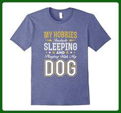 Mens Sleeping & Playing with My Dog T-Shirt, Tshirt Paw Friend Large Heather Blue - Animal shirts (*Amazon Partner-Link)
