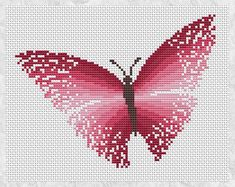 Pink butterfly cross stitch pattern by ClimbingGoatDesigns on Etsy