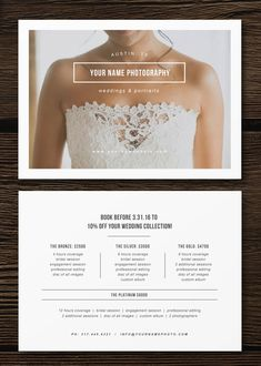 Wedding photographer pricing flyer | branding and marketing materials for photographers | price list template | photography pricing guides