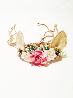 Tieback Woodland Fawn Flower Crown with Ivory & Pink Flowers. Flowers are mounted on Natural Jute rope. Ears are made from Felt. Headband is