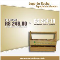 JOGO DE BOCHA ESPECIAL EM MADEIRA - Confira em http://www.aventurarcampingshop.com.br/jogo-de-bocha-especial-de-madeira-p648/