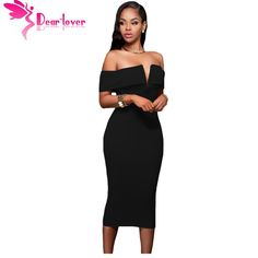 Dear Lover midi party dresses bodycon slash neck vestido de festa Hot-selling Black Off-the-shoulder Midi Dress Clubwear LC61221