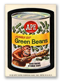 Topps Wacky Packages  13th Series 1975 APE GREEN BEANS
