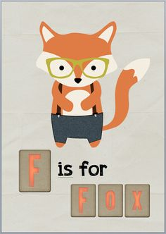 F is for Fox Digital Art Print Hipster Fox by LilFoxPaperShop, $14.95