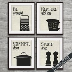 Funny Kitchen Art Print Set (Grater, Measuring Cup, Stock Pot and Spice) Set of 4 - Art Prints (Featured on Black on Linen)   THIS LISTING IS