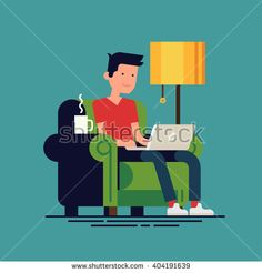 Young adult man working at home vector concept illustration. Freelancer character working from home with laptop sitting in cozy armchair with a cup of hot tea or coffee. Home office. Remote work - stock vector
