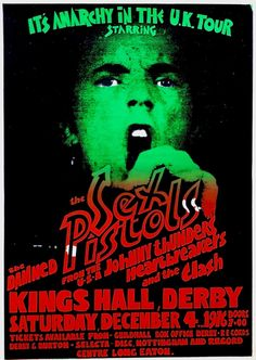superseventies: Sex Pistols, The Clash, The Damned, Johnny Thunders and the Heartbreakers - Anarchy In The UK original tour poster. Kings Hall, Derby December 4, 1976 (cancelled show).