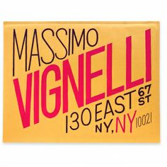 Mr. Vignelli / massimo vignelli address card 130 east 67 street