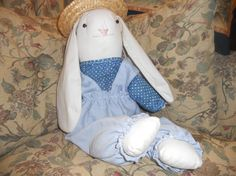 Handmade Easter bunny dressed in overalls and straw hat by EMTWTT, $24.99 one of a kind handmade perfect for Easter