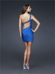 Short One Shoulder with beaded strap Ruched Chiffon Prom Dress PD1928 http://www.simpledresses.co.uk
