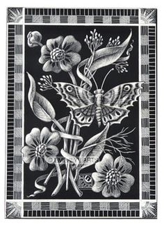 Cynthia Emerlye Vermont Artist And Kirigami Papercutter Butterfly Scratchboard Etching