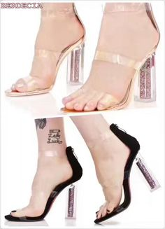 2017 women new top selling transparent leather sandals unique crystal heel ankle buckle shoes open toe thick high heel sandals-in Women's Sandals from Shoes on Aliexpress.com   Alibaba Group