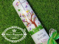 **Taufkerze Lebensbaum**  **Größe/Artikelnummer/Farbe** Taufkerze 27 x 7 cm Taufkerzen Modell TK400 mit Silberschrift Taufkerzen Farbe Rosa-Grasgrün-Bunt  **Verwendete...