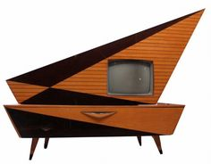 Kuba Komet TV Stereo Console  This scarce Kuba Komet combination stereo and television was made in Germany, circa 1960.