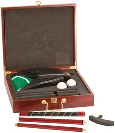 Executive Golf Set with Putter, Ball & Ball return - Practice your putting at home, the office, driveway or where ever you are. Each putter gift set includes a rosewood case, piano finished putter, two golf balls, and a battery operated ball return. Personalize this executive putter set by adding an engraved brass plate on the lid of the wooden case.