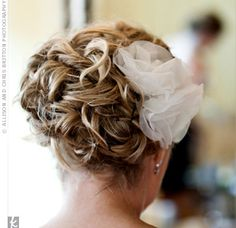 Silk Organza Hairpins. Your curly hair would look so cute pinned up like this