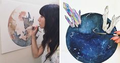 My name is Jessica Weymouth, I am a 23-year-old college student creating watercolor pieces out of my seaside home in Long Beach, CA. I am currently focusing my artistic endeavors within the celestial spaces and lunar cycles. I developed a particular interest in solar systems and galaxies as I found myself being hummed to sleep by the sound of our Mother Ocean and the movement of her tides; I quickly became fascinated with the relation of our moon to our vast bodies of water, and how the…