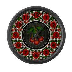 Cherries on Gingham Checks Large Wall Clock #cuteclocks #countrystyle #chalkboard #ginghamchecks