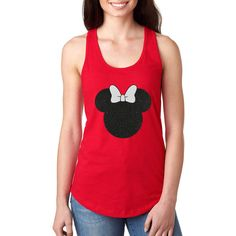 Disney Shirt Disney Women's Shirt Minnie Mouse Bow Minnie Mouse Shirt... ($18) ❤ liked on Polyvore featuring tops, t-shirts, pink, tanks, women's clothing, glitter t shirts, t shirt, red checkered shirt, red t shirt and pink t shirt