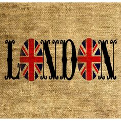 LONDON Union Jack Vintage Font - Download and Print - Image Transfer -... ❤ liked on Polyvore