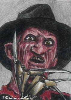 ACEO HALLOWEEN Horror Freddy Krueger ORIGINAL DRAWING Sketch Card Portrait  #Realism