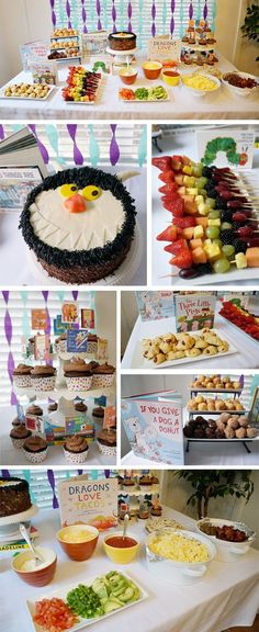 Book-themed birthday party food! Dragons love taco bar, if you give a dog a donut (hole!) and a where the wild things are cake
