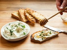 Three-Cheese Herb-and-Honey Spread Recipe adapted from Colby and Megan Garrelts, Rye, Leawood, KS, tastingtable: Any soft cheese can be worked into this spread. #Appetizer #Cheese #Honey #Herbs
