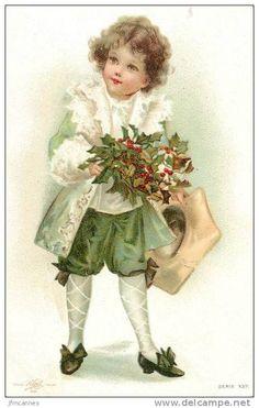 Irish Christmas, Victorian Christmas, Pink Christmas, Christmas Crafts, Images Vintage, Vintage Christmas Images, Christmas Pictures, Vintage Greeting Cards, Vintage Postcards