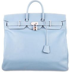 Hermès Epsom HAC Travel Birkin 50 Blue Jean Epsom leather Hermès HAC Travel Birkin 50 with palladium hardware, dual rolled top handles, contrast stitching, tonal leather lining and turn-lock closure at front flap. Blind stamped Square K from 2007.