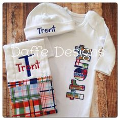 Custom Personalized 3 Piece Infant Layette Gown, Knit Hat, and Burp Cloth