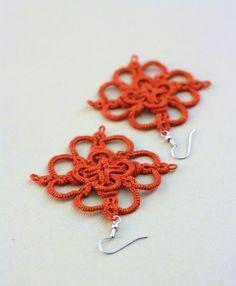 Tatted Flower Earrings in Orange Pumpkin Spice. $16.00, via Etsy.