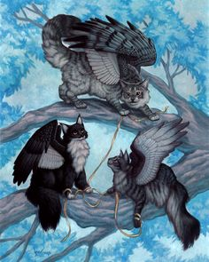 Cat Trio in a Tree, fantasy images by Magic the Gathering and dragon Storm artist Susan Van Camp.
