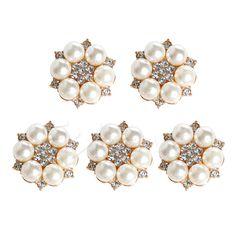 5 Unid/set Artesanal de Perlas de Cristal Rhinestone Botones Flatback Redondo de la Flor Cluster Adorno de La Boda de Arte de La Joyería