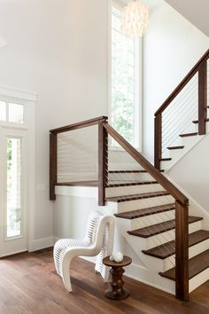 Modern Stair Railings Staircase Transitional With Clean Lines Seatbelt Chair