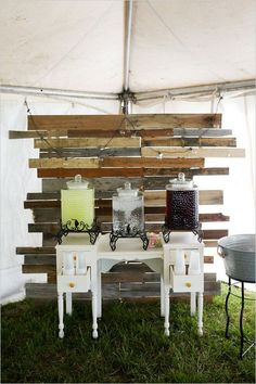 rustic wedding drink bar