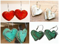 I make these earrings, 3 rustic hearts hanging on a hoop – of paper mache. Straps of newspaper are glued in several layers on top of heart shaped cardboard forms. The hearts are then painted and varnished to achieve this rustic look.       #Jewelry, #PaperMache, #Upcycled