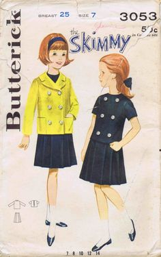 1960s Girls Skimmy Dress and Topper Butterick 3053 Vintage Sewing Pattern Size 7
