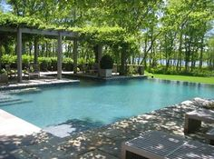 Edmund D. Hollander Landscape Architect Design - like the idea of a shaded area over part of the pool