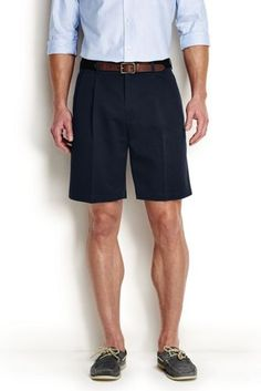 4c007657b7 Lands' End Men's 9 Pleat Front No Iron Chino Shorts-Steeple Gray