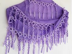 PURPLE Cotton Scarf With Fringed Lace For by mediterraneanlights, $16.90