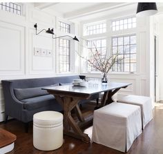 millwork in dining room. ottoman/bench seating