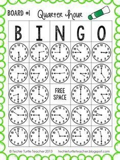 Time to the Quarter Hour Bingo - 25 Different Game Boards - CCSS Telling Time to the Quarter Hour Bingo - by Techie Turtle Teacher Telling Time Games, Telling Time Activities, Teaching Time, Teaching Math, Telling The Time, Math Stations, Math Centers, Math Games, Math Activities