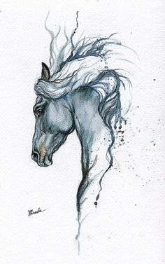 cute animals to draw Gerahmte original Aquarell Malerei Tattoo Pferd von AngelHorses Watercolor Horse, Watercolor Paintings, Art Paintings, Painting Art, Tattoo Watercolor, Painting Illustrations, Angel Paintings, Blue Painting, Watercolor Animals