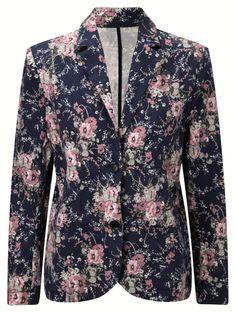 Damart navy floral twill printed jacket, product code B414. www.damart.co.uk