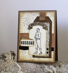 Kaart gemaakt met de set Guy Greetings van Stampin' Up! #vintage #stampinup #mannenkaarten