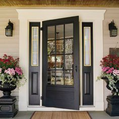 front stoop planters use flat square pavement bricks spay painted black make box with molding around bottom another flat brick on top then urn spray painted black.   Door black with all black side lights even around window do not leave white.