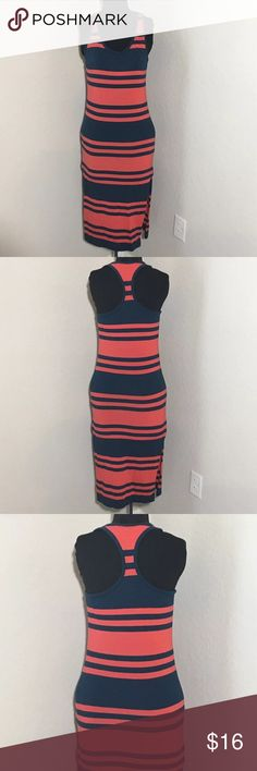 "Racer Back Orange Blue Striped Midi Slit Dress Women's French Connection racer back burnt orange and navy blue striped midi dress with side slits. No size tag measures 15"" armpit to armpit, 44.5"" shoulder to hem. French Connection Dresses"