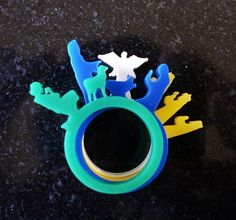 Christmas Nativity Ring Set in colourful acrylics.
