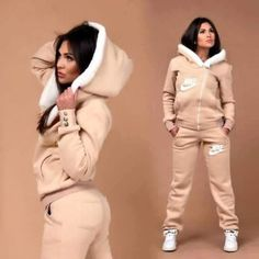 top jumpsuit nike tracksuit jacket pink nike track suit women outfit brown white tan